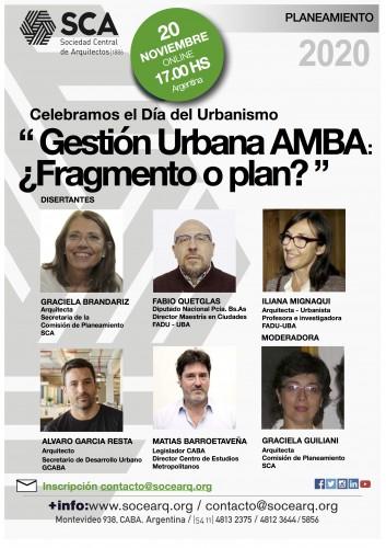 """Viernes 20 de noviembre, 17.00 hs - Conferencia """"Gestión Urbana en el AMBA: ¿fragmento o plan?"""""""
