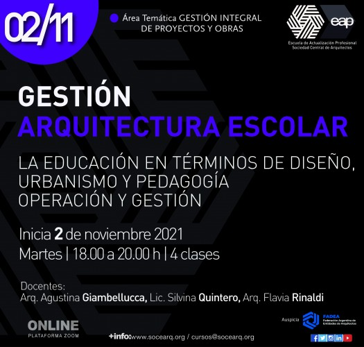 Inicia el 02/11/21 Gestión Arquitectura Escolar