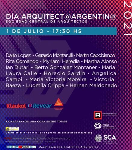 """Jueves 1° de Julio, 17:30 horas - """"CELEBRACION DIA ARQUITECT@ ARGENTIN@"""""""