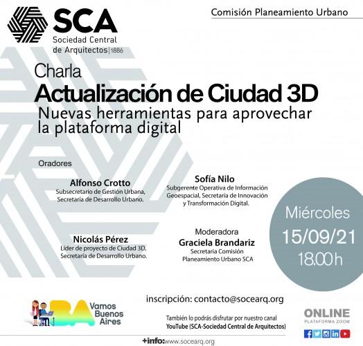 """Miércoles 15 de septiembre, 18 horas: Charla """"Actualización de Ciudad 3D"""""""