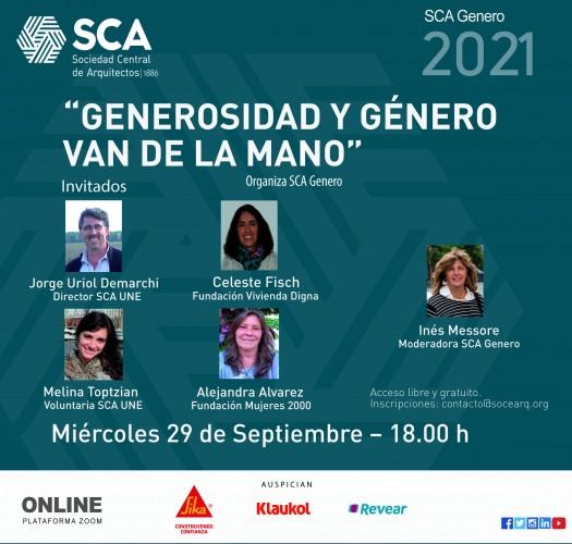 Miércoles 29 de septiembre, 18 horas: Generosidad y género van de la mano