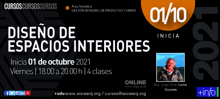 Inicia 01/10/2021 – Diseño de Espacios Interiores